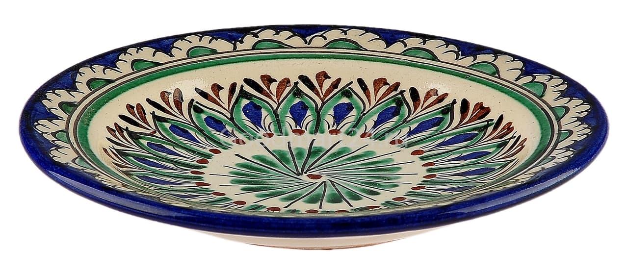 Тарелка плоская Риштанская Керамика 17 см. синяя - фото 7487