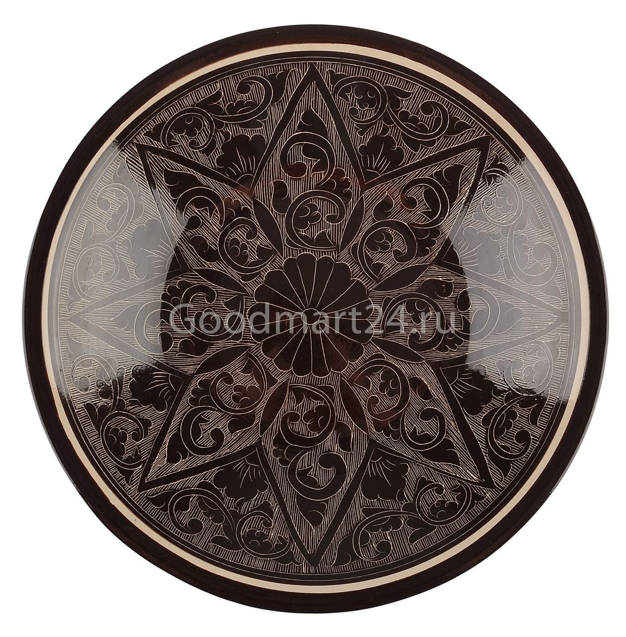 Тарелка плоская Риштанская Керамика 27 см. коричневая - фото 7525