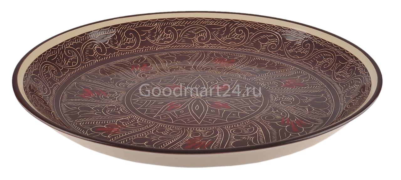 Тарелка плоская Риштанская Керамика 27 см. коричневая - фото 7526