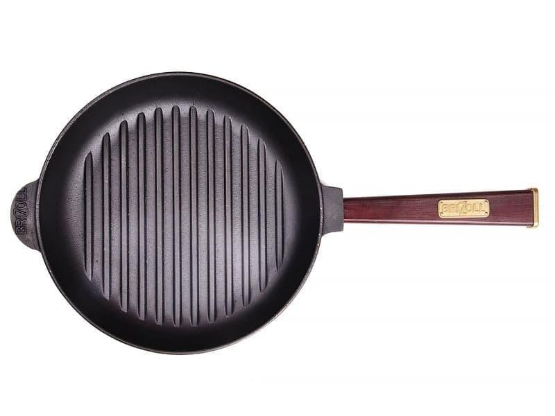 Чугунная сковорода гриль 240 мм. ОПТИМА с дерев.ручкой BRIZOLL арт. О2440Г-Р2 - фото 7830