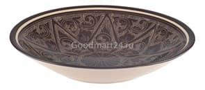 Тарелка плоская Риштанская Керамика 25 см. коричневая