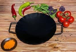 Садж сковорода без подставки, вороненая сталь, 35 см.
