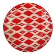 Ляган Риштанская Керамика 42 см. плоский, Красный Атлас