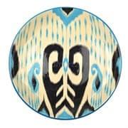Ляган Риштанская Керамика 38 см. плоский, Синий Атлас рис. 1